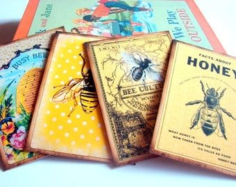 Bee Postcard Set - Vintage Book Cover Bee Culture Honeybee Facts About Honey Bee Hive Busy Bee Garden Insect - 4 Sm Note Card Greeting Cards
