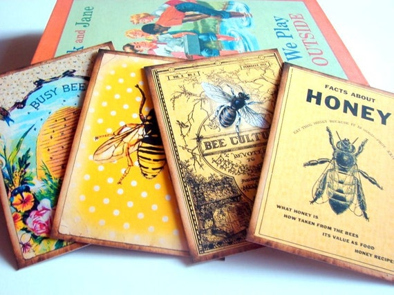 Vintage Book Cover Postcards : Bee postcard set vintage book cover culture by mimiandlucy