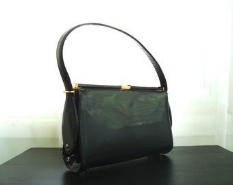 Pretty Black Patent Handbag by Caprice Originals, Kelly Frame Shiny Vinyl Purse