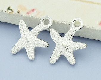 2 of 925 Sterling Silver Starfish Charms 11x12mm. :th2011