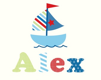 Children Wall Decal, Nursery Wall Decal, Baby Wall Decal, Wall Decals Nursery, Sail Boat Name Wall Decals
