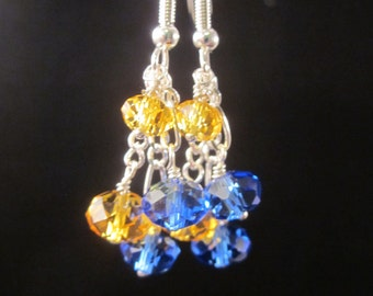 Crystal Dangle Earrings, Sapphire Blue and Yellow,  Bridal, Wedding, Bridesmaid, Formal, Prom,SRAJD
