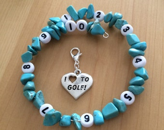 Turquoise Golf Stroke counting or Score Keeping memory wire bracelet