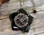Vintage Black Onyx Flower Pendant - Sterling Silver Ox Plated Brass Filigree Flower - Vintage Rhinestone Button -Recycled-One-of-a-Kind