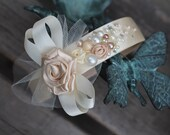 Beautiful bridal headband, flower girl head piece, wedding hair accessories, wedding flowers and pearls, ivory & champagne with crystals