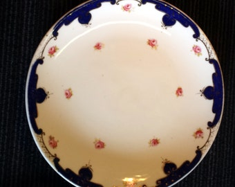 Allerton English Plates, Two Blue and Rose Plates, Antique