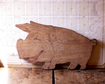 Vintage Laughing Pig Handmade Wood Cutting Board