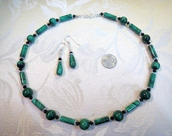 Banded Green Malachite & Sterling Necklace w Earrings