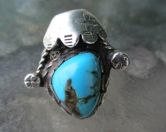 Vintage Navajo Turquoise Sterling Ring 7 1/4