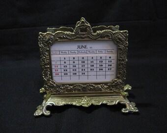Virginia Metalcrafters Heavy and Ornate Brass Calendar & Letter Holder, Hollywood Regency, Home Decor, Wedding Gift Card Holder BR1700