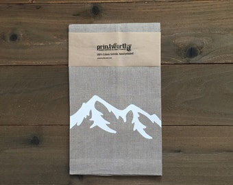 Tea Towel, Linen Dish Towel, Mountain Design, Screen Printed Kitchen Towel