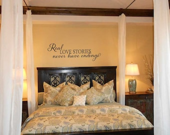 Real love stories never have endings FB062 custom vinyl lettering sticker home decor wall words master bedroom love quote