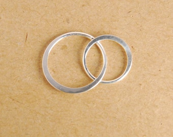 1 piece: sterling silver double circle link, pendant, 27X16mm, circle size 16X16mm and 13x13mm, infinity link