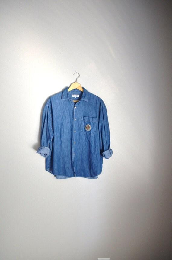 Vintage 90s guess denim jean button up shirt mens large for Jean button up shirt mens