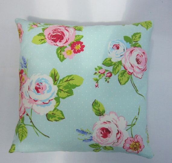 Aqua and Pink Cushion Cover, Cottage chic Pillow Cover, Aqua Pillow cover,  Pillow Sham, English Rose Floral, Various Size Options
