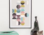 Abstract print, Geometric poster, Minimalist art, Mid century print, Circles pattern, blue violett pink art, abstract art, home decor,