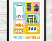 Kitchen decor, Art for kitchen, Mid century modern, Cathrineholm poster, wall art, Retro kitchen print,  Cooking art, Scandinavian art,