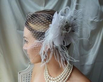 Bridal Fascinator - White Fascinator - Feathered Fascinator - Fascinator with Veil - Bridal Hair Piece