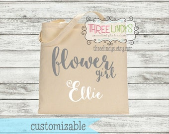 Personalized Canvas Tote // Flower Girl // Bridal Party Gift // Wedding Party Gift // Calligraphy
