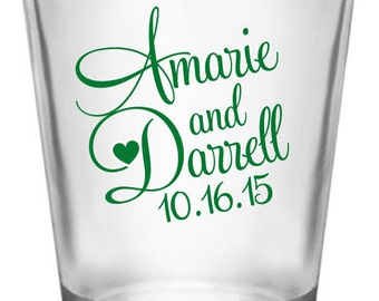 264 Personalized Wedding Favor 1.5oz Shot Glasses Custom Wedding Favors