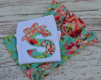 Girl's Coral and Aqua Mint Floral Monogrammed Shirt & Ruffle Pant Set