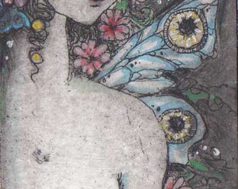 Fairy Etching limited edition Daisy Fairy etching original art butterfly wings and daisy flowers