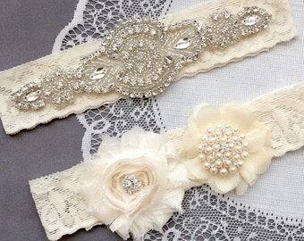 Wedding Garter Belt Set Bridal Garter Set Ivory Lace Garter Belt Lace Garter Set Rhinestone Crystal Pearl Center Garter GR137LX