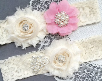 Wedding Garter Bridal Garter Rose Pink Garter Set Lace Garter Set Tiara Crown Rhinestone Crystal Pearl Garter Princess GR167LX