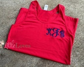 Monogrammed Tank Top- Embroidered Tank Top- Infant Tank Top- Toddler Tank Top- Girls Tank Top- Juniors Tank Top