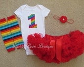 Rainbow Birthday Outfit - Baby Circus Outfit - Bodysuit - Red Pettiskirt Tutu - Rainbow Leg Warmers - Flower - Baby Girl 1st Birthday Outfit