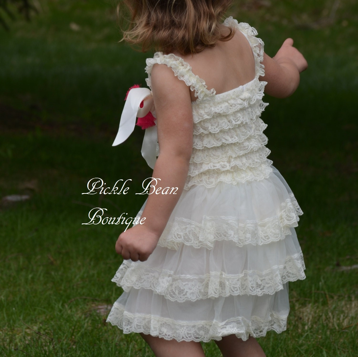 Country Flower Girl Dress Vintage Baby by PickleBeanBoutique
