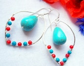Silver Earrings - Turquoise Coral Earrings - Semi Precious Stone Earrings - Wire Wrapped Earrings - Custom Order For Leah, Second Payment