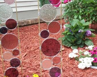 Stained glass garden art stake grape rose purple outdoor yard decoration modern garden art