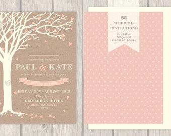 "25 - 100 x ""Love Tree"" Wedding Invitations"