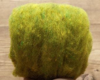 Needle Felting Wool in Golden Pear Green, Wool Batting, Batts, Wet Felting, Spinning, Dyed Batt, Chartreuse, Citron, Fiber Art Supplies