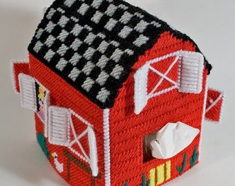 Red Barn Tissue Box Cover