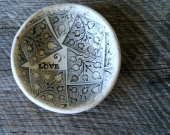 """4"""" Personalized Ring Dish, Ceramic, Handmade Pottery, by RiverStone Pottery"""