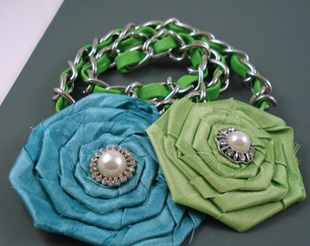 Destash Mix of Fabric Flowers, Embellished Chain