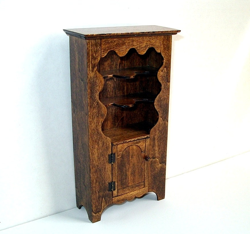 Rustic Pewter Cabinet Colonial Dollhouse Miniature By