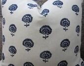Designer Pillow Cover -  Lumabr, 18 x 18, 20 x 20, 22 x22, 24 x 24 - Hand Flora Indigo