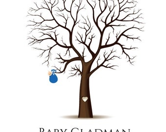 PDF- Digital file - Baby Birth Tree Guest Book - Fingerprint - Baby Shower - any size