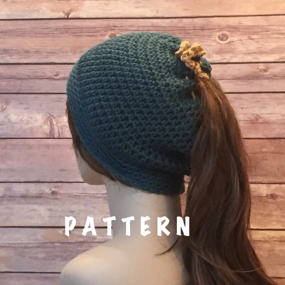 Crochet Hat With Ponytail Hole Pattern Hat Pattern Ponytail Hole