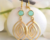 Aqua and Gold Dangle Earrings. Statement Earrings. Jewelry. Drop Earrings. Dangle Earrings. Bridesmaids Earrings. Gift. Anniversary Gift.