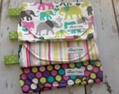 Burp Cloth-Set of 3- Elephant, Striped, and Polka Dots