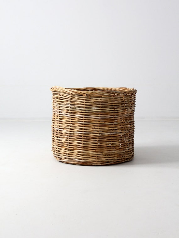 Vintage Woven Basket, Large Hamper Basket