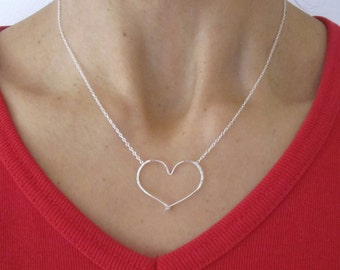 Floating open HEART hammered sterling silver wire necklace, Valentines love jewelry