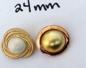 Lot of 12 Buttons in two diiferent designs Self Shank Pearl Gold and Bronze Gold 24 mm