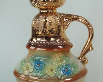 Ornate Raised Gold & Floral JIM BEAM Regal China Liquor Bottle With Screw On Cap MINT