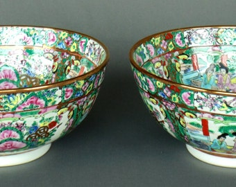 2 EXTRA LARGE Hand Painted Porcelain Serving Vegetable Rice Bowls Japanese Geisha Girl Pattern MINT