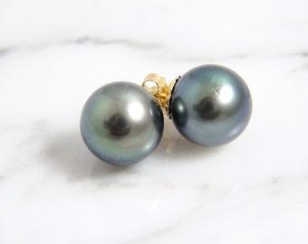 Vintage Genuine 11mm Round Tahitian Grey/Green Pearl Stud Earrings